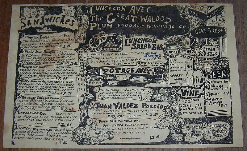Vintage Menu from Great Waldo Plum, 770 Western, Lake Forest, Illinois