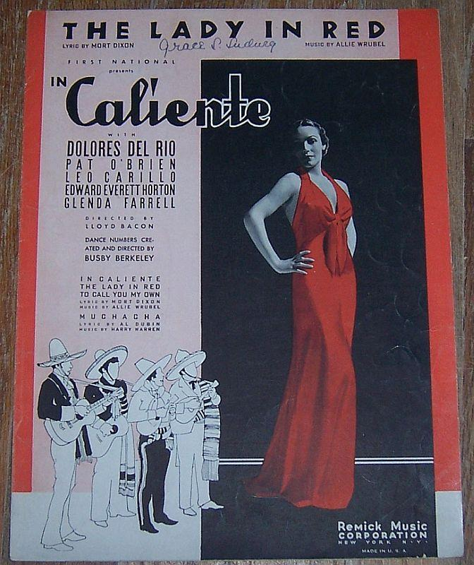 Lady in Red From In Caliento with Dolores Del Rio Pat O'Brien 1935 Sheet Music