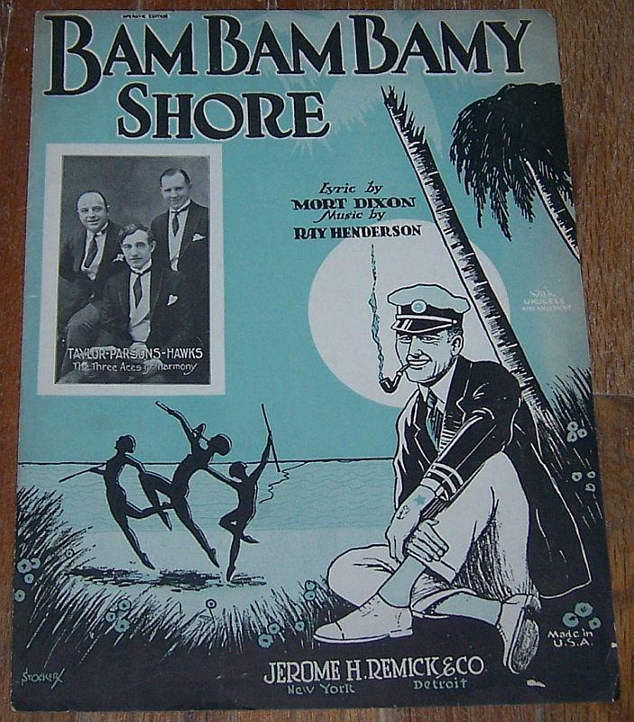 Bambambamy Shore Featured by The Three Aces 1925 Vintage Sheet Music