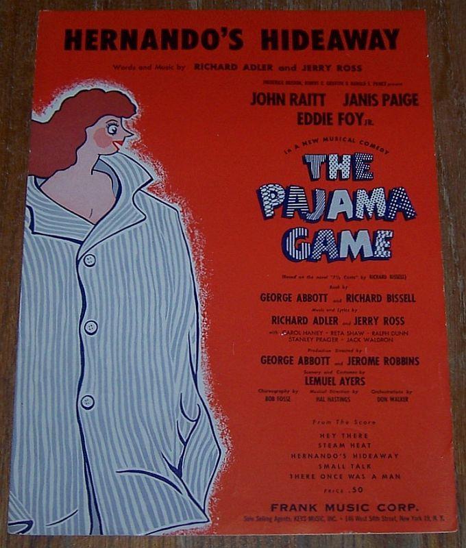 Hernando's Hideaway From The Pajama Game Starring John Raitt 1954 Sheet Music