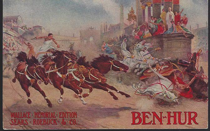 Vintage Postcard for Ben Hur Wallace Memorial Edition Available at Sears Roebuck