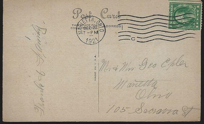 Vintage Christmas Greetings Postcard with Santa Claus Fireplace Stockings 1921