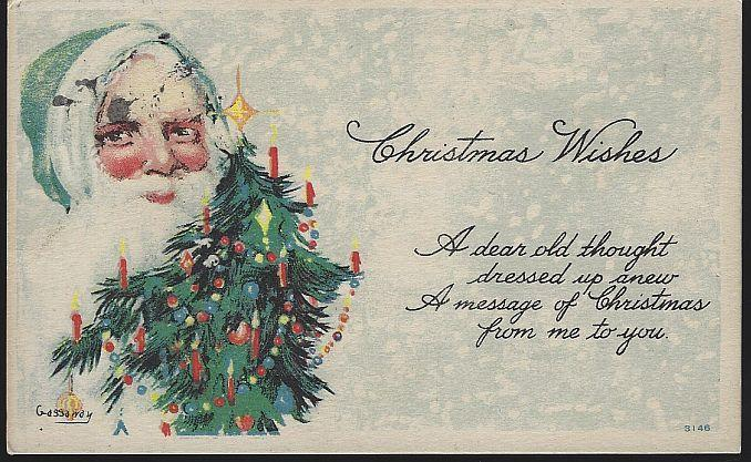 Vintage Christmas Wishes Postcard with Green Santa Claus and Christmas Tree 1919