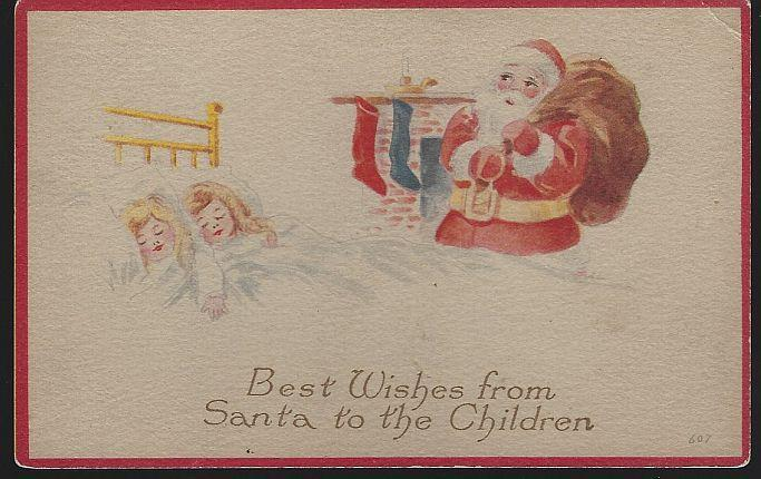 Vintage Best Wishes Christmas Postcard from Santa to the Children