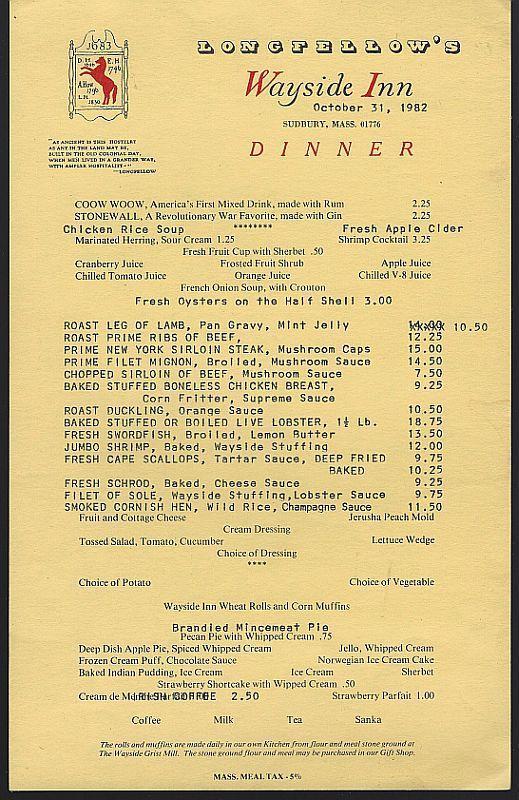 Vintage Dinner Menu From Longfellow's Wayside Inn, Sudbury, Massachusetts 1982