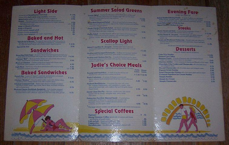 Vintage Menu From Judie's Restaurant, 51 N Pleasant St, Amherst, Massachusetts