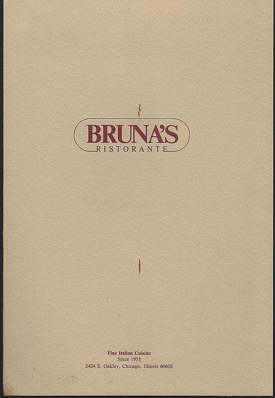 Vintage Menu From Bruna's Ristorante, 2424 S. Oakley, Chicago, Illinois