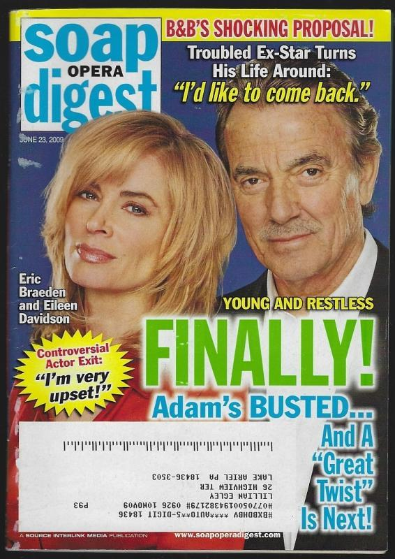 Soap Opera Digest Magazine June 23, 2009 Young and Restless Adam's Busted Cover