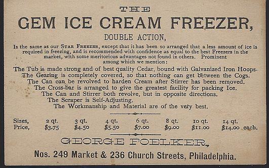 Victorian Trade Card for Gem Ice Cream Freezer with Cherubs Making Ice Cream