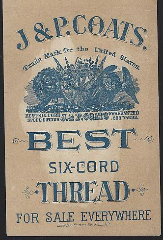 Victorian Trade Card for J.P. Coats' Thread with Jack and Jill Nursery Rhyme