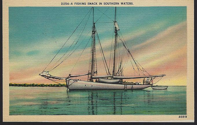 Vintage Unused Postcard of Fishing Smack in Southern Waters