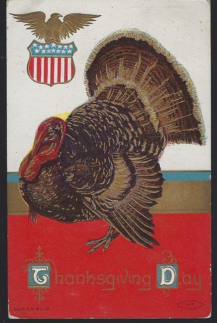Vintage Thanksgiving Day Postcard with Large Turkey 1911