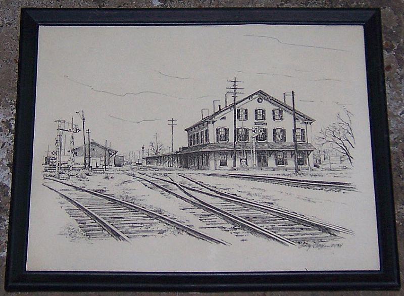 Vintage Framed Print of Historic Huntsville Depot, Huntsville, Alabama