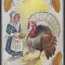 Vintage Unused Joyful Thanksgiving Postcard with Turkey and Pilgrim Girl