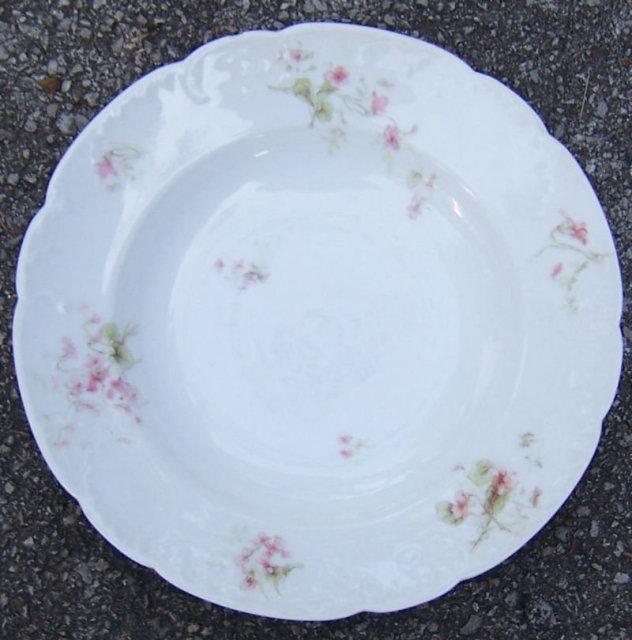 Haviland Limoges China Flat Soup Bowl w/ Pink Flowers