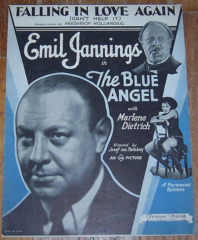 Falling in Love Again Can't Help It From Blue Angel Marlene Dietrich Sheet Music