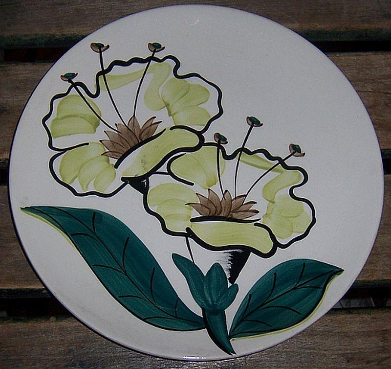 Vintage Blue Ridge Evening Flower Pattern Skyline Shape Dinner Plate