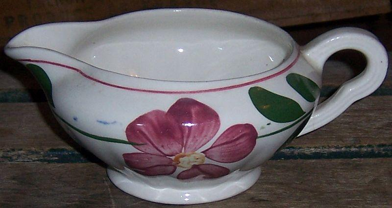 Blue Ridge Pottery Colonial Shape Petunia Gravy Boat Red and Blue Flowers