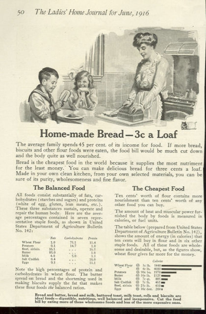 Homemade Bread at Three Cents a Loaf 1916 Advertisement