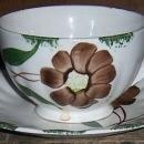 Blue Ridge Pottery Colonial Shape Amanda Pattern Cup and Saucer Brown Flower