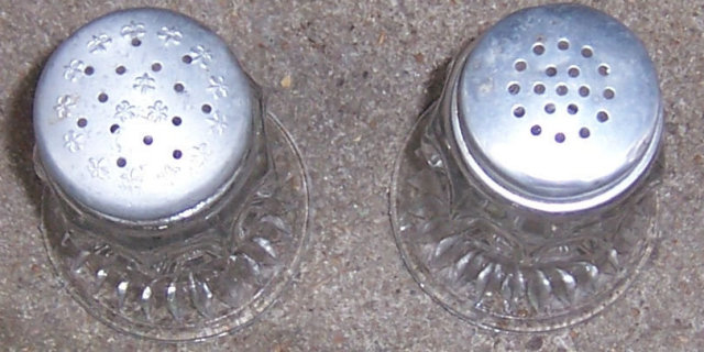 Barreled Thumbprint Glass Salt and Pepper Shakers