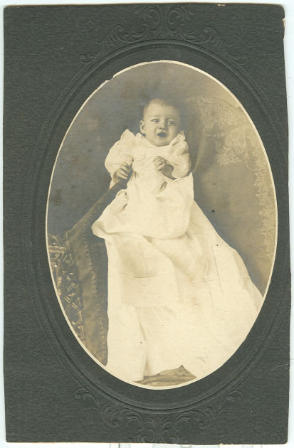 Cabinet Card Photograph of Baby in Christening Gown