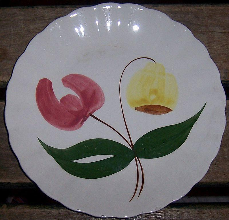 Blue Ridge Pottery Colonial Shape Shoo Fly Small Plate Pink and Yellow Flower