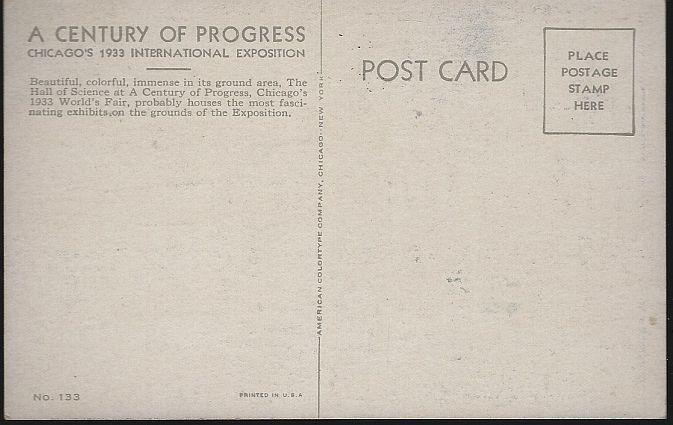 Vintage Unused Postcard Hall of Science North Entrance Century of Progress 1933