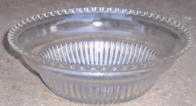 Vintage Large Glass Serving Bowl with Beaded Edge
