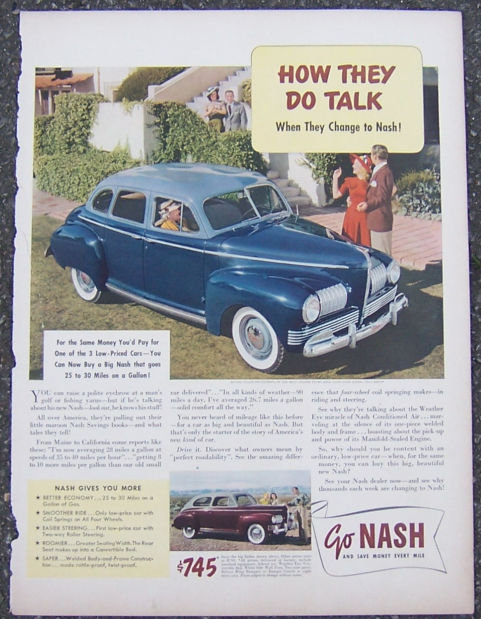 1940s Go Nash Big Sedan Auto Magazine Advertisment