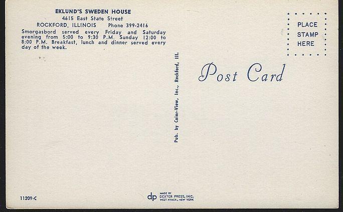 Vintage Unused Postcard Eklund's Swedish House 4615 East St Rockford, Illinois