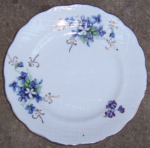 Vintage Small Plate Decorated with Violets and Gold