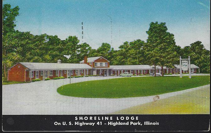 Vintage Postcard of Shoreline Lodge, Highway 41, Highland Park, Illinois 1957