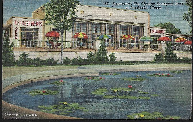 Vintage Postcard Restaurant Chicago Zoological Park at Brookfield, Illinois 1946