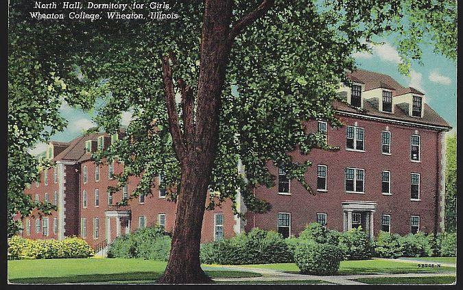 Vintage Unused Postcard North Hall Dormitory for Girls Wheaton College Illinois