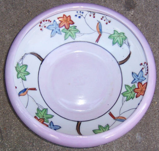 Made in Japan Pink Bowl with Birds and Leaves Inside