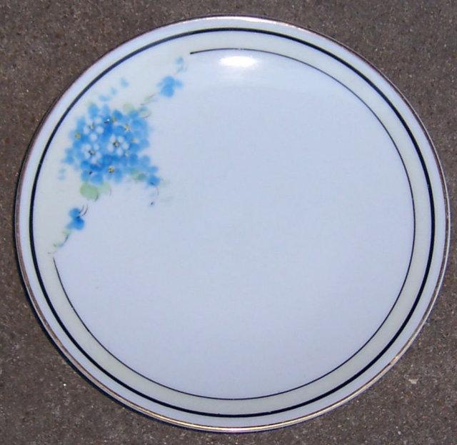 Vintage Handpainted Blue Floral Czechoslovakia Plate