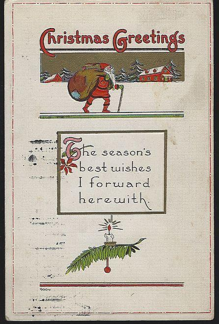 Vintage Christmas Greetings Postcard with Santa Claus Walking with Toy Sack 1914