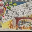 Vintage Christmas Postcard with Santa Claus and Yule Log A Jolly Time