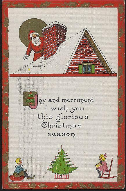 Vintage  Christmas Postcard with Santa on Roof with Children and Tree 1914