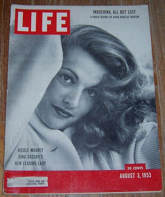 Life Magazine August 3, 1953 Nicole Maure Cover/Korea/Indochina/Snakes/Opera