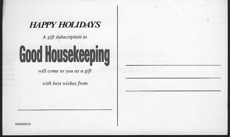 Vintage Unused Good Housekeeping Happy Holidays Subscription Postcard