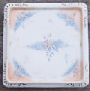 Vintage Square Trivet with Blue Flowers and Gold Trim