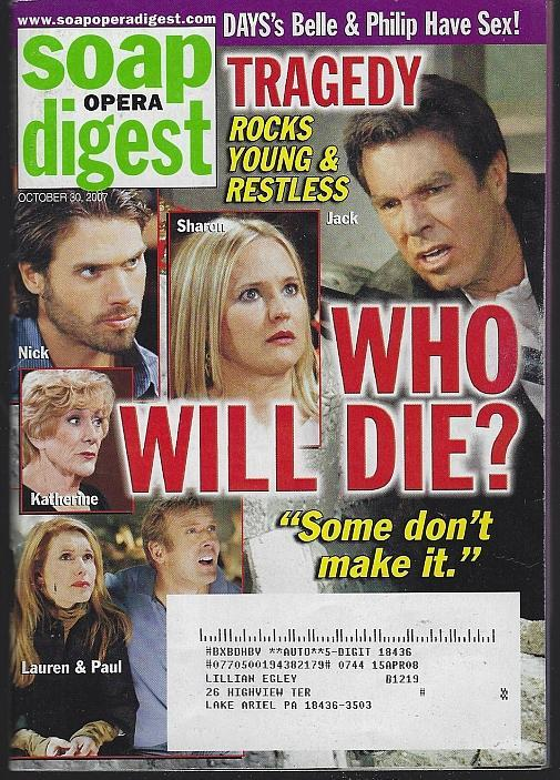 Soap Opera Digest October 30, 2007 Young and Restless Who Will Die/Hea