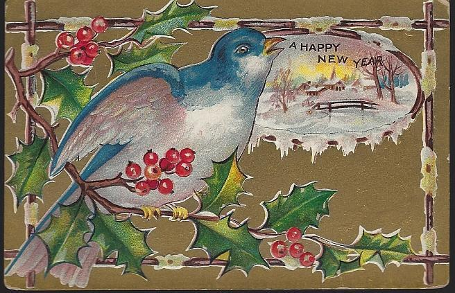 Vintage Happy New Year Postcard with Blue Bird on Holly Branch Snowy Landscape