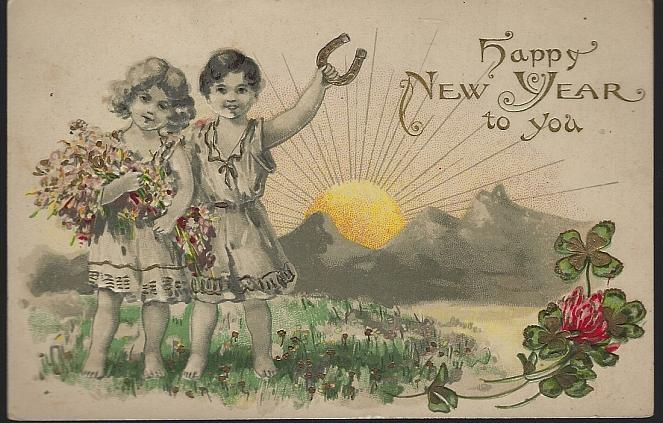 Vintage Happy New Year Postcard with Two Cute Good Luck Children
