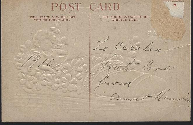 Vintage Happy New Year Postcard with Cherub Sailing a Flower Filled Shoe 1910