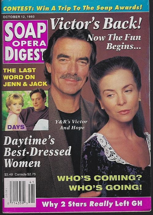Soap Opera Digest October 12, 1993 Victor and Hope YR Cover/Nathan Purdee/GH