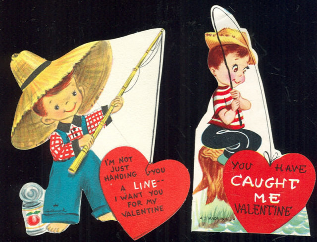 Two Vintage Valentines of Young Boys Fishing