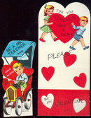 Set of Two Vintage Boy and Girl Teacher Valentine Cards